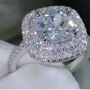 """🆕NEW STUNNING CUSHION CUT """"DIAMOND"""" RING SIZE 9Boutique for sale"""